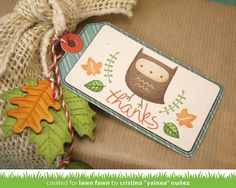 Lawn Fawn - Thank You Tags, You're a Hoot, Tag You're It, Fall Leaves Wood Veneer, Sweater Weather 6x6 paper, Coral Lawn Trimmings _ gift tag by Cristina for Lawn Fawn Design Team