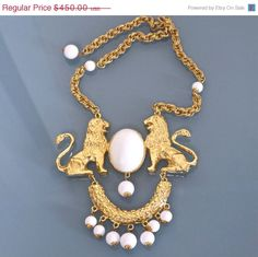 Donald Stannard Twin Lion Massive Necklace by VintagEnMode