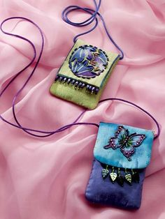 Beaded Amulet Bag:A purse tiny enough to wear as a necklace holds precious mementos or practical items such as tissue or lipstick. This e-pattern was originally published in Sew-Easy Designer Bags & Totes.