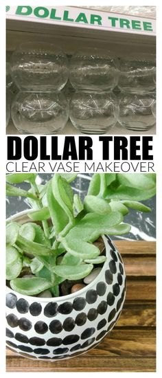 A basic Dollar Tree clear glass vase gets an easy and modern makeover!