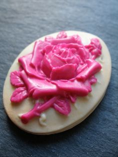 Pink rose cameo on ivory background, now a beautiful hair slide. Handpressed by me http://www.beckytoughill.co.uk/pink--cream-english-rose-hair-slide.html