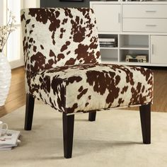 Decor Cowhide Fabric Chair | Overstock.com