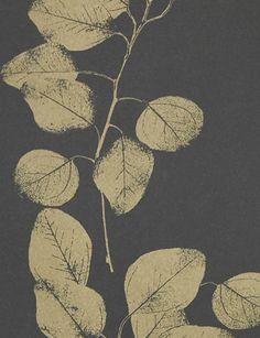 Black/Gold Leaf wallpaper by Jocelyn Warner - Black/Gold