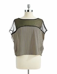 Women's Apparel | New Arrivals | Short Sleeved Illusion Striped Top | Lord and Taylor