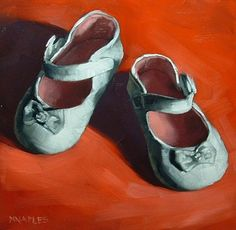 """""""Baby Shoes"""" - Original Fine Art for Sale - © Michael Naples Baby Girl Shoes, Girls Shoes, Red Shoes, Me Too Shoes, Ceramic Shoes, Shoe Image, Shadow Art, Art Graphique, Daily Painters"""