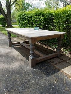 New England Farmhouse Rustic TABLE Breadboard Ends Massive Turned Legs Reclaimed Wood Weathered Gray Custom Sizes Colors Unique Primtiques Farmhouse Table Legs, Rustic Table, Diy Table, Rustic Farmhouse, Rustic Wood, Farmhouse Style, Weathered Wood Stain, Wood Stain Colors, Gray Stain