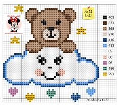 ~ Ursinho na nuvem ponto cruz Tiny Cross Stitch, Cross Stitch For Kids, Cross Stitch Heart, Cross Stitch Animals, Cross Stitch Designs, Cross Stitch Patterns, Afghan Crochet Patterns, Loom Patterns, C2c Crochet