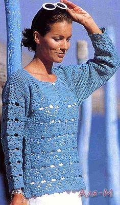 Crochetemoda: Blusa azul de Croche III