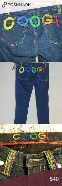 VINTAGE COOGI JEANS SIZE 3/4 EMBROIDERED Very rare Vintage COOGI JEANS. Embroidered in multi colored thread. The front button is missing. Otherwise in great condition. COOGI Pants Straight Leg