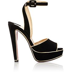Christian Louboutin Women's Louloudance Platform Sandals (1,930 BAM) ❤ liked on Polyvore featuring shoes, sandals, black, black high heel sandals, ankle strap high heel sandals, black leather shoes, peep toe sandals and black ankle strap sandals