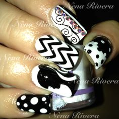 Barbie black and white nails