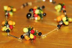 Astounding Vintage Fruit Salad GLASS Necklace by MyJewelsBoutique
