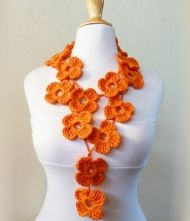 hand crocheted - lariat - Spring / Summer necklace scarf via Etsy Crochet Flower Scarf, Hand Crochet, Crochet Flowers, Crochet Hats, Crochet Ideas, Knit Crochet, Lariat Necklace, Flower Necklace, Crochet Necklace