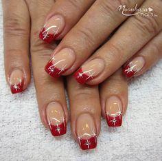 Christmas Shellac Nails, Xmas Nail Art, Glitter Nail Art, Cute Acrylic Nails, Holiday Nails, French Tip Nail Designs, Valentine's Day Nail Designs, Almond Nails Designs, French Tip Nails