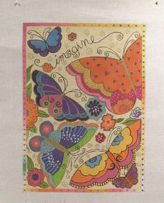 Danji Laurel Burch Rainbow Butterflies Handpainted Needlepoint Canvas  #DanjiCHDesigns #Handpainted