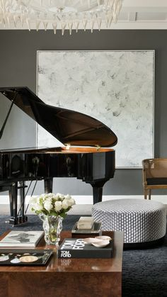 Small Living Room with Piano. 20 Inspirational Small Living Room with Piano. Living Room Black Leather Ottoman Coffee Table for Small Grand Piano Room, Piano Room Decor, The Piano, Piano Living Rooms, Formal Living Rooms, Design Salon, Ideas Hogar, Suites, Interior Design Inspiration