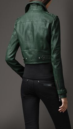 Cropped Python Biker Jacket | Burberry