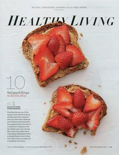 Peanut butter and strawberries on toast
