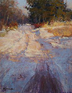 Roadway Shadows by Barbara Jaenicke Pastel ~ x Paintings I Love, Seascape Paintings, Beautiful Paintings, Landscape Paintings, Pastel Paintings, Painting Snow, Winter Painting, Winter Art, Pastel Landscape