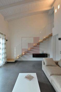 Escalera recta / peldaño de madera / suspendida / sin contrahuellas AXOLUTE MANHATTAN TECNOSCALE
