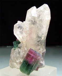 Elbaite and Quartz / Pederneiras Mine, Minas Gerais, Brazil