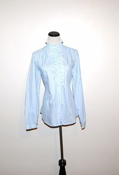 Vintage Blouse Feminine Blue by CheekyVintageCloset on Etsy, $14.00