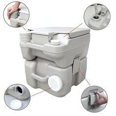 Portable Toilet F T-Type Flush Van Camper Boat Marine Travel Potty Camping RV