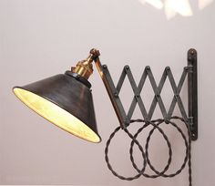 Scissor Lamp! Articulating Adjustable Steel Swing Sconce - Industrial Wall Mount Extension Bedside Reading Light w/ Antique Patina -Style X5