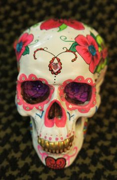 One of a Kind - Custom Painted with Crystals Day of the Dead Skull - MADE TO ORDER. $70.00, via Etsy.