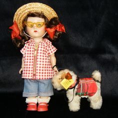 VTG 1953-4 Ginnyy Vogue  SLW with Steiff Scotty Dog Pup Puppy Doll INCLUDED #DollswithClothingAccessories