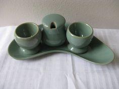 Vintage Denby Stoneware Manor Green Egg Cups Kidney Dish Mustard Pot Set Retro 70s 80s  pillowsophie.etsy.com $78
