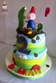 Torta Chanchito George #TortaChanchitoGeorge #TortasDecoradas #DulcesKaprichos Tortas Peppa Pig, Birthday Cake, Desserts, Food, Sweets, Tailgate Desserts, Deserts, Birthday Cakes, Essen