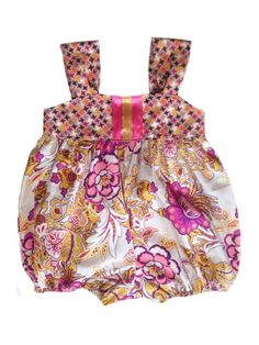 Hot Pink and Mustard Floral Girls Bubble Romper Sunsuit