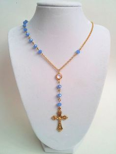 Gold Rosary Necklace Sky Blue Opaque by divinitycollection on Etsy, $40.00