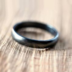 Black Silver Wedding Band, Brushed  Men's or Women's Unisex 4mm Low Dome Recycled Argentium Sterling Silver Oxidized Ring