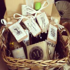 wine gift basket of firsts bridal shower
