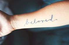 """Beloved"" tattoo from 69 Inspirational Typography Tattoos Trendy Tattoos, Love Tattoos, Beautiful Tattoos, Picture Tattoos, New Tattoos, Tattoos For Women, Tatoos, Brown Tattoos, White Tattoos"