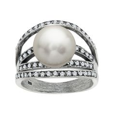 Van Kempen Art Deco Pearl Arch Ring with Swarovski Crystals in Sterling Silver from Jewelry.com