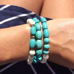 The Arabella and Bali bracelet stack #turquoise #pearls #white #beach #colourful #travel #navybayjewellery #navybay
