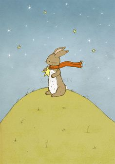 Reach For The Stars Bunny Rabbit Nursery Art Print by Bumpkin on Etsy #childrens #illustration