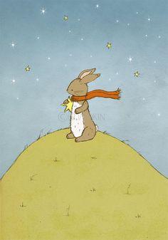 Reach For The Stars  Bunny Rabbit Nursery Art Print by Bumpkin on Etsy #childrens #illustration