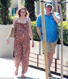 Happy couple: Michael Weatherly took his pregnant wife Bojana Jankovic to brunch in West Hollywood, on Sunday