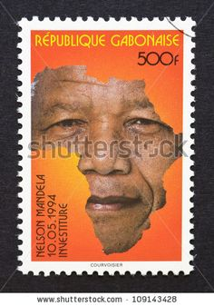 Gabonese Republic - CIRCA postage stamp printed in Gabonese Republic showing an image of Nelson Mandela with the african continent, circa Nelson Mandela Quotes, Les Continents, Going Postal, Stamp Printing, Love Stamps, First Black President, Freedom Fighters, Stamp Collecting, Postage Stamps
