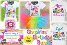 Shopkins Birthday Party Ideas | Rainbow Shopkins Birthday Shirts | Shopkins Birthday Outfit | Shopkins Family Shirts | Birthday Party Ideas for Girls | Twistin Twirlin Tutus #shopkinsbirthday  http://www.twistintwirlintutus.com/products/shopkins-birthday-bundle