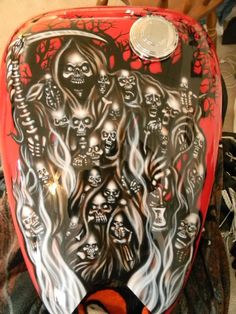 Freehand airbrushed gas tank