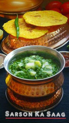 How to make Sarson Ka Saag   Punjabi Sarson Da Saag Recipe   Winter Special Mustard Greens & Other greens - #recipe #sarsonkasaag #sarson #makki #vegindiancooking #punjabifood #foodblogger #indianrecipes #indianfoodblogger #yummlicious #winterspecial