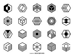 Collection of hexagonal logos and badges. Designs feature different geometric details and styles. Works great in logos, labels, stickers, vinyls and more!