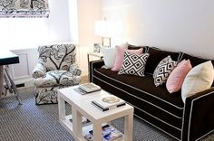 contrasting piping on brown sofa couch