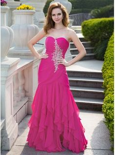 Special Occasion Dresses - $168.99 - Trumpet/Mermaid Sweetheart Floor-Length Chiffon Prom Dress With Beading Cascading Ruffles  http://www.dressfirst.com/Trumpet-Mermaid-Sweetheart-Floor-Length-Chiffon-Prom-Dress-With-Beading-Cascading-Ruffles-018024656-g24656