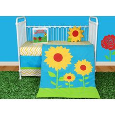 Add a pop of color and sunshine to your child's room with this beautiful Snuggleberry Baby crib set, featuring bold patterns and a bonus story book. With machine washable materials and a neutral design, this bedding set is a great idea for your child.